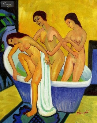 "ERNST LUDWIG KIRCHNER - WOMEN BATHING  16X20 "" OIL PAINTING REPRODUCTION – image 1"
