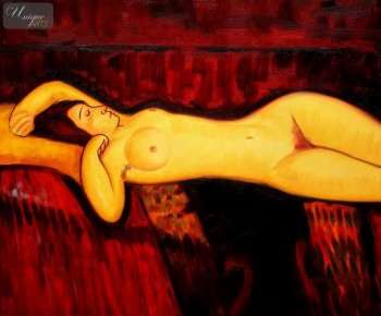 "AMEDEO MODIGLIANI - NUDE WITH YELLOW CUSHION  20X24 "" OIL PAINTING – image 1"