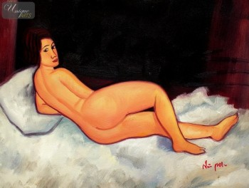 "AMEDEO MODIGLIANI - RECLINING NUDE  12X16 "" OIL PAINTING REPRODUCTION – image 1"