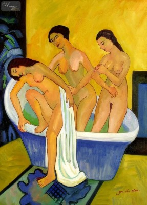 "ERNST LUDWIG KIRCHNER - WOMEN BATHING  32X44 "" OIL PAINTING REPRODUCTION – image 1"