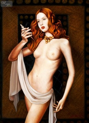 "NUDE ART - STANDING NUDE - LUCRETIA  32X44 "" OIL PAINTING – image 1"