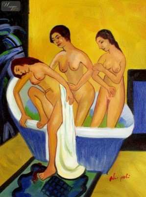 "ERNST LUDWIG KIRCHNER - WOMEN BATHING  12X16 "" OIL PAINTING REPRODUCTION – image 1"