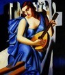 "HOMAGE TO T. DE LEMPICKA - LADY IN BLUE WITH GUITAR  16X20 "" OIL PAINTING – image 2"