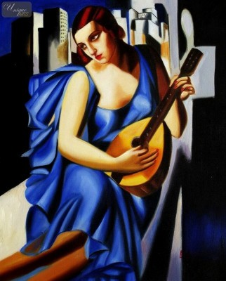 "HOMAGE TO T. DE LEMPICKA - LADY IN BLUE WITH GUITAR  16X20 "" OIL PAINTING – image 1"