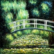 "CLAUDE MONET - BRIDGE OVER THE WATER LILY POND  32X32 "" REPRODUCTION OIL PAINTING – image 2"