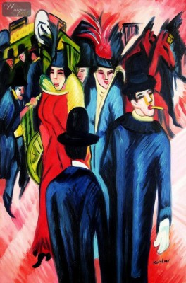 "ERNST LUDWIG KIRCHNER - STREET SCENE IN BERLIN  24X36 "" REPRODUCTION OIL PAINTING – image 1"