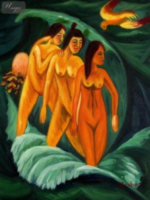 "ERNST LUDWIG KIRCHNER - THREE BATHERS  12X16 "" REPRODUCTION OIL PAINTING – image 1"