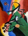 "FRANZ MARC - TWO MONKEYS  16X20 "" OIL PAINTING REPRODUCTION – image 2"