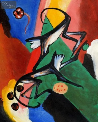 "FRANZ MARC - TWO MONKEYS  16X20 "" OIL PAINTING REPRODUCTION – image 1"