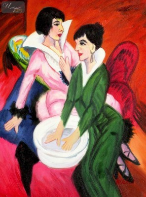 "ERNST LUDWIG KIRCHNER - TWO WOMEN WITH A WASH BASIN  12X16 "" OIL PAINTING – image 1"