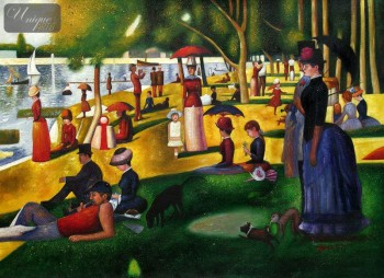 "GEORGES SEURAT - SUNDAY AFTERNOON ON LA GRANDE JATTE  32X44 "" OIL PAINTING – image 1"