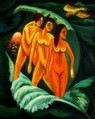 "ERNST LUDWIG KIRCHNER - THREE BATHERS  16X20 "" REPRODUCTION OIL PAINTING – image 2"