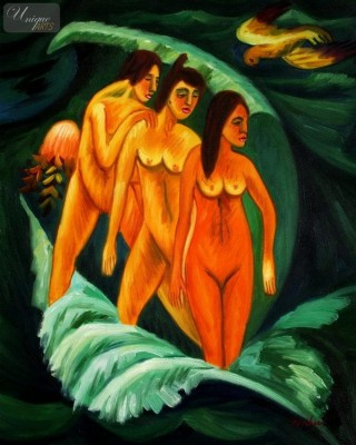 "ERNST LUDWIG KIRCHNER - THREE BATHERS  16X20 "" REPRODUCTION OIL PAINTING – image 1"