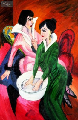 "ERNST LUDWIG KIRCHNER - TWO WOMEN WITH A WASH BASIN  24X36 "" OIL PAINTING – image 1"