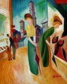 "AUGUST MACKE - WOMAN IN FRONT OF THE HAT SHOP  16X20 "" OIL PAINTING – image 2"