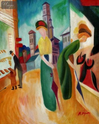 "AUGUST MACKE - WOMAN IN FRONT OF THE HAT SHOP  16X20 "" OIL PAINTING – image 1"