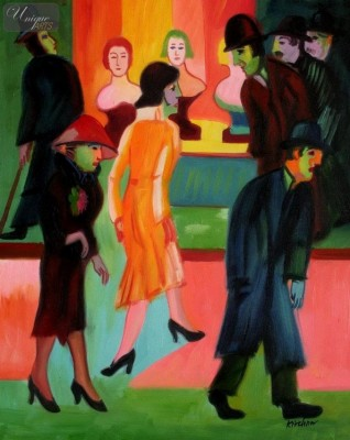 "ERNST LUDWIG KIRCHNER - AT THE BARBERSHOP  16X20 "" REPRODUCTION OIL PAINTING – image 1"