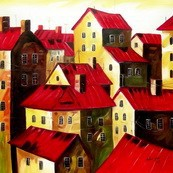 "MODERN - RED ROOFS  32X32 "" ORIGINAL OIL PAINTING – image 2"
