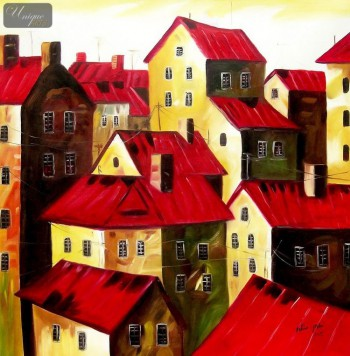 "MODERN - RED ROOFS  32X32 "" ORIGINAL OIL PAINTING – image 1"