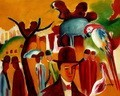 "AUGUST MACKE - IN THE ZOOLOGICAL GARDENS  16X20 "" REPRODUCTION OIL PAINTING – image 2"