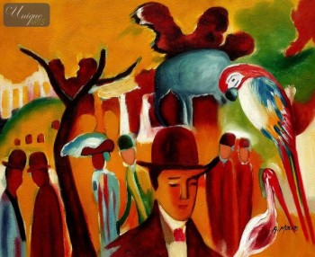 "AUGUST MACKE - IN THE ZOOLOGICAL GARDENS  16X20 "" REPRODUCTION OIL PAINTING – image 1"