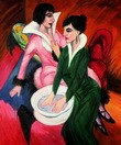 "ERNST LUDWIG KIRCHNER - TWO WOMEN WITH A WASH BASIN  20X24 "" OIL PAINTING – image 2"