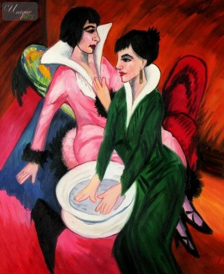 "ERNST LUDWIG KIRCHNER - TWO WOMEN WITH A WASH BASIN  20X24 "" OIL PAINTING – image 1"