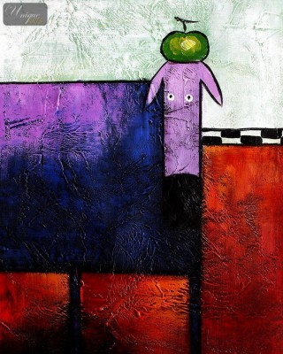 "POP ART - THE FUNNY PURPLE DOG  16X20 "" HANDMADE OIL PAINTING – image 1"