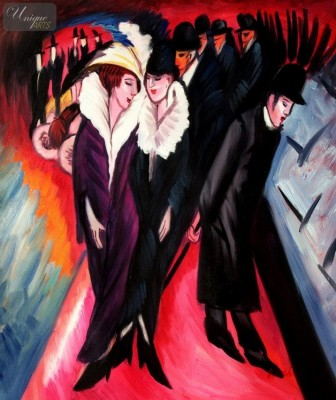 "ERNST LUDWIG KIRCHNER - STREET SCENE IN BERLIN  20X24 "" REPRODUCTION OIL PAINTING – image 1"