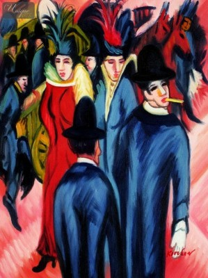 "ERNST LUDWIG KIRCHNER - BERLIN STREET SCENE  12X16 "" REPRODUCTION OIL PAINTING – image 1"