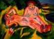 "ERNST LUDWIG KIRCHNER - TWO NUDES IN PINK BY THE LAKE  12X16 "" OIL PAINTING – image 2"