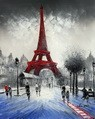 "MODERN ART - PARIS WINTER SCENE  16X20 "" OIL PAINTING – image 2"