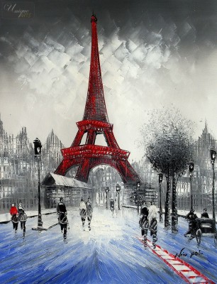 "MODERN ART - PARIS WINTER SCENE  16X20 "" OIL PAINTING – image 1"