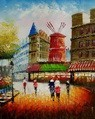 "MODERN ART - PARIS - THE MOULIN ROUGE  16X20 "" OIL PAINTING – image 2"