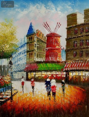 "MODERN ART - PARIS - THE MOULIN ROUGE  16X20 "" OIL PAINTING – image 1"