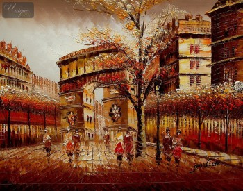 "MODERN ART - PARIS - ARC DE TRIUMPH 16X20 "" OIL PAINTING – image 1"