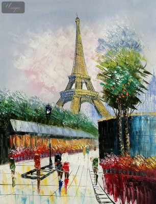 "MODERN ART - PARIS STREET SCENE WITH EIFFEL TOWER  16X20 "" OIL PAINTING – image 1"