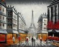 "MODERN ART - PARIS STREET SCENE WITH EIFFEL TOWER  16X20 "" OIL PAINTING – image 2"