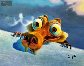 "MODERN ART - HOMAGE TO ICE AGE SCRAT 12X16 "" OIL PAINTING HAND PAINTED FRAMED – image 1"