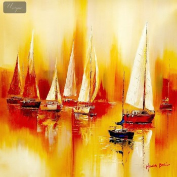 "SAILING BOATS ON A LAKE  32X32 "" ORIGINAL OIL PAINTING – image 1"