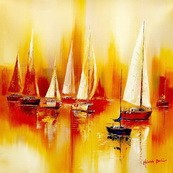 "SAILING BOATS ON A LAKE  32X32 "" ORIGINAL OIL PAINTING – image 2"