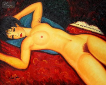 "AMEDEO MODIGLIANI - NUDE WITH BLUE CUSHION 16x20 "" OIL PAINTING – image 1"
