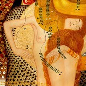 "GUSTAV KLIMT - WATER SERPENTS 32x32 "" PAINTED BY HAND IN OIL – image 2"