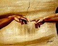"MICHELANGELO - THE CREATION OF ADAM 16x20 "" HAND PAINTED IN OIL  – image 2"