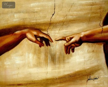 "MICHELANGELO - THE CREATION OF ADAM 16x20 "" HAND PAINTED IN OIL  – image 1"