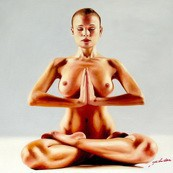 "MODERN ART - MEDITATION - NUDE YOGA EXERCISE 32x32 "" OIL PAINTING – image 2"