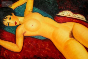 "AMEDEO MODIGLIANI - NUDE WITH BLUE CUSHION 24x36 "" OIL PAINTING – image 1"