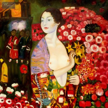 "GUSTAV KLIMT - THE DANCER 32x32 "" PAINTED BY HAND IN OIL – image 1"