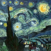 "VINCENT VAN GOGH - STARRY NIGHT 32x32 "" HAND PAINTED IN OIL  – image 2"