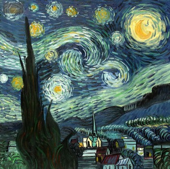 "VINCENT VAN GOGH - STARRY NIGHT 32x32 "" HAND PAINTED IN OIL  – image 1"